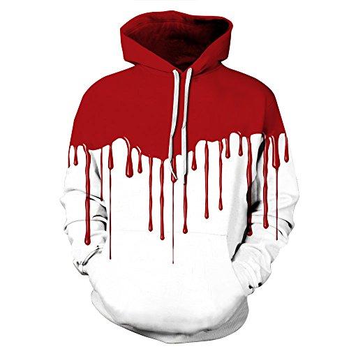 BYWLHNB Männer & Frauen Hoodies Halloween Sweatshirts Hip Hop Hallowmas 3D Drucken Blut Harajuku Paar Hoodie Pullover Hoody Outwears, Blut, XXL Blut Hoody