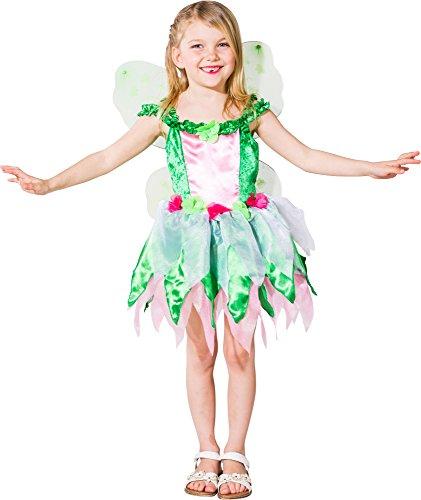 6 grün-rosa Kinder Mädchen Feen Kleid-Kostüm Gr.116 ()