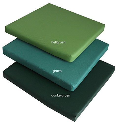 Gastro-Qualität Stuhlkissen, Bankkissen, Bankpolster, Sitzkissen Dekokissen Sitzpolster 40 x 40 cm aus pflegeleichtem Kunstleder (dunkelgrün) (L-dunkelgrün 5 X)