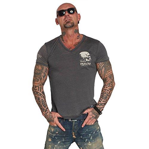 Yakuza Original Herren Burnout V-Neck T-Shirt, Gr.-M, Ebony