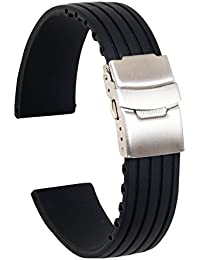 Ullchro Silicone Watch Strap Replacement Rubber Watch Band Waterproof Stripe Pattern - 16mm, 18mm, 20mm, 22mm, 24mm Watch Bracelet with Stainless Steel Deployment Buckle (20mm, Black)