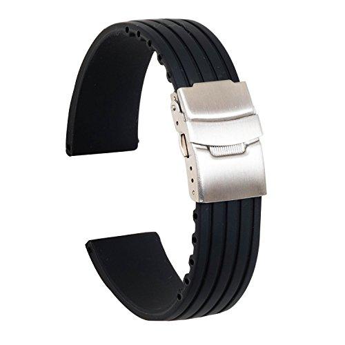 Ullchro Correa Reloj Calidad Alta Recambios Correa Relojes Caucho Stripe Pattern - 16mm, 18mm, 20mm, 22mm, 24mm Silicona Correa Reloj con Acero Inoxidable Hebilla desplegable (22mm, Negro)