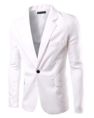 Zhuikun uomo blazer - elegante slim fit vestito di affari cappotto giacca outwear bianco s