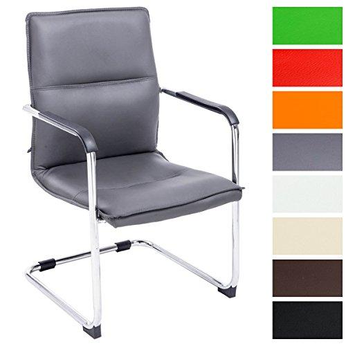 CLP Freischwinger Seattle mit Armlehne I Konferenzstuhl mit hochwertiger Polsterung und Kunstlederbezug Grau