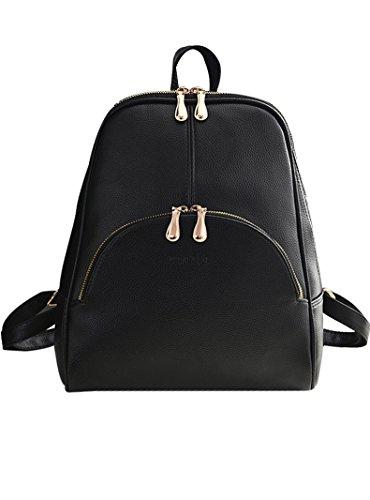 Menschwear PU Zaino Satchel Daypack sacchetto di scuola Leggero Blu Nero