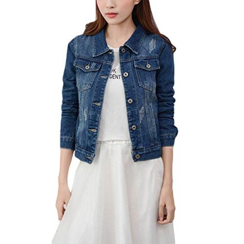Mode Beiläufig Damen Mantel Jacke Denim Jacket Trench Parka Jacken Einfarbig Lange Ärmel Jeans-Jacke mit Patches (M, Blau)