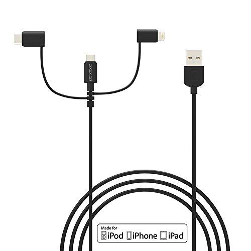 Cavetto 3-in-1 dodocool: Integra una porta microUSB, una USB-C ed una Lightning, per ricaricare ogni dispositivo con un solo cavo