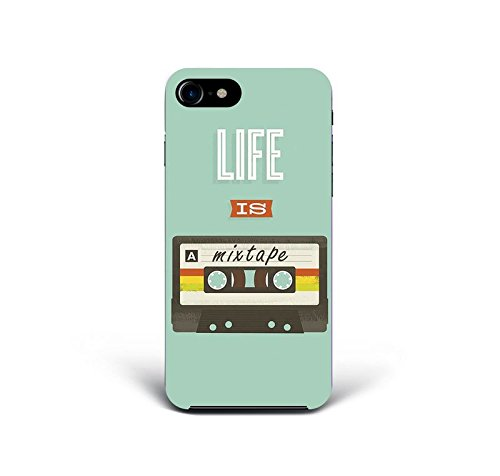 for iPhone 7 Plus + iPhone 8 Plus + Phone Back Case Hard Cover Custom Personalised Trendy Style Present Modern Design Protective Plastic UK Brand Appfix Life is a Mixtape Retro Old School