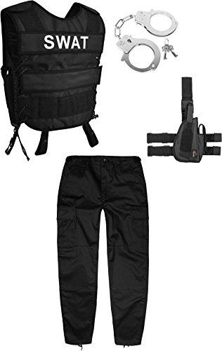 normani Kinder Fashingskostüm bestehend aus SWAT-Weste, Kinderhose, Handschellen Farbe Schwarz Größe XL/158-164