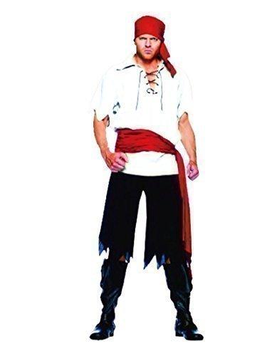 Rubber Johnnies TM Piratenkostüm für Herren 'Blackbeard Schiffskamerad' - - Pirat Blackbeard Kostüm