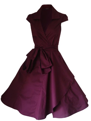 Robe de Soiree ,Vintage Rockabilly style,Retro Années 50, Jupe, Swing,Pin up ,Parfaite Pour Soiree Dansante, Taille 34-54 Bordeaux