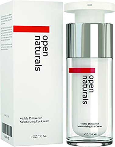 Open Naturals Moisturizing Eye Cream for Wrinkles, Eye Bags, Dark Circles, Puffiness and Crow's Feet - DOUBLE SIZED 30ML - Organic Anti Ageing Cream, Hyaluronic Acid, Jojoba Oil and Vitamin E - Best Natural Treatment for Women and Men - 100% Satisfaction or Your Money Back