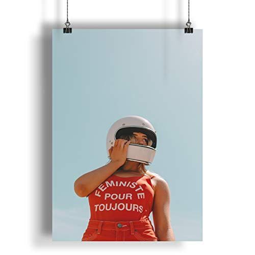 INNOGLEN Feminista para Siempre Dama con Casco Blanco A0 A1 A2 A3 A4 Poster de Fotos Satinado a2764h