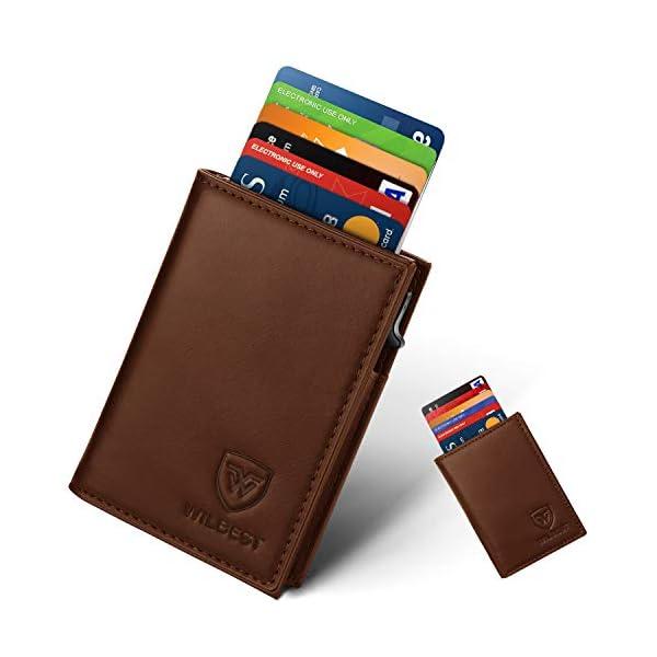 Portafoglio Uomo Pelle Porta Carte di Credito RFID Blocco Sottile Automatico Pop-up,Portafogli Senza Contatto di… 1 spesavip