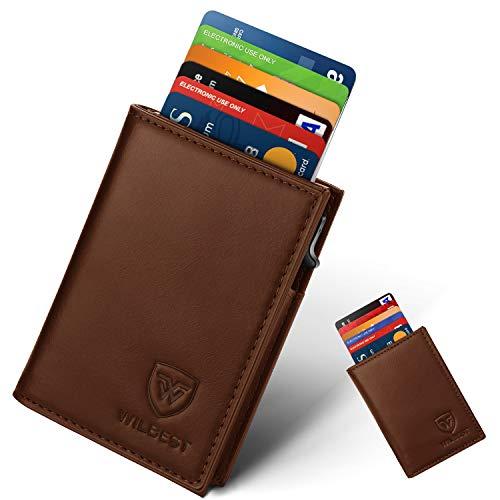Kreditkartenetui, Wilbest Hochwertiges Leder Kartenetui Mini-Geldbörse RFID Schutz für Bis zu 9 Karten Portemonnaie, Card Wallet, 1 mattierter Box, Slim Wallet Herren und Damen, Geschenkbox (Braun)