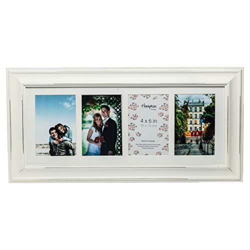 ERI446W Erica Cadre en bois de haute qualité pour quatre photos A6 (10 x 15 cm)50 mm de large, magnifique style shabby chic, blanc