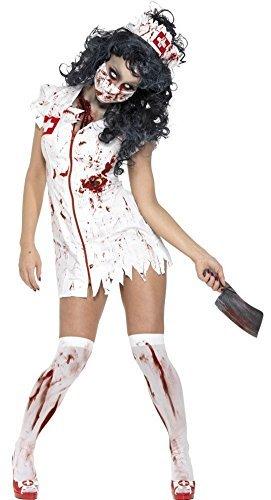 Damen Sexy Zombie Krankenschwester Medizinisch Scrubs NHS Halloween Kostüm Kleid Outfit - EU 32-34 (Halloween-scrubs)
