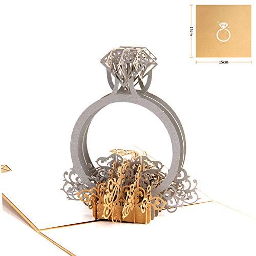Steellwingsf Personalisierte Hochzeitseinladungen/Einladungskarten mit Ring 3D Pop Up Hochzeit Verlobung Dekoration Einladungskarten Multi