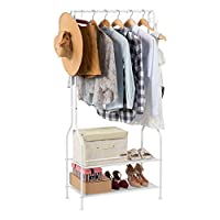 LANGRIA 2-Tier Entrance Hall Coat Rack Organiser Metal Multi-Purpose Storage Shoe Bench Stand with Top Rod 4 Hooks for Home Office Hallway Bedroom Max Load Capacity 30kg/66.1lbs