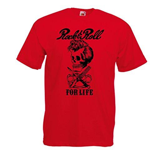 Maglietta da Uomo Rock And Roll for Life - Anni '60, 70, 80 - Band Rock Vintage - Musicamente - Abbigliamento da Concerto (X-Large Rosso Multicolore)