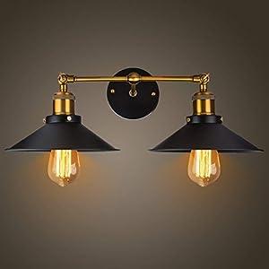 Coquimbo Retro Vintage Applique da parete lampadario Lampada da parete a luce Regolabile Testa in rame con Portalampada E27 per casa, bar, ristoranti, Club Decorazione (lampadine non incluse)