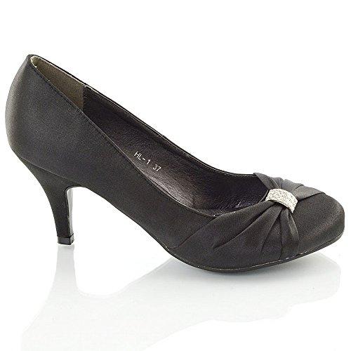 ESSEX GLAM  Hl-1, Sandales Compensées femme Noir satin