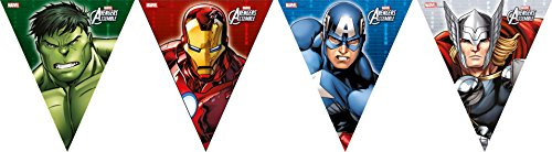 2,6 m Marvel Avengers Assemble Wimpelkette Banner in Karton (Superhelden In The Avengers)