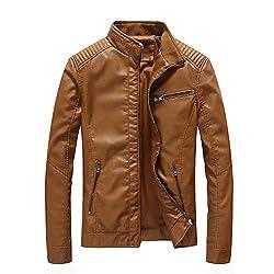 MAYOGO Oversize Winterjacke für Männer Herrenmode Lederjacke mit Reißverschluss und Tasche Winter Einfarbig Slim fit Trenchcoat Jacket Outwear for Mens