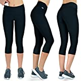 Wellness-Leggins Damen 3/4 mit Tasche | Fitness Sport Leggings Frauen Dreiviertel schwarz Muster (schwarz, L)