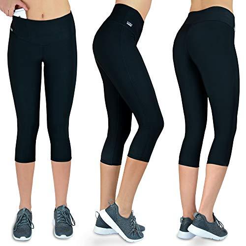 Formbelt Laufhose Damen Capri Leggings schwarz Muster (schwarz, XL)