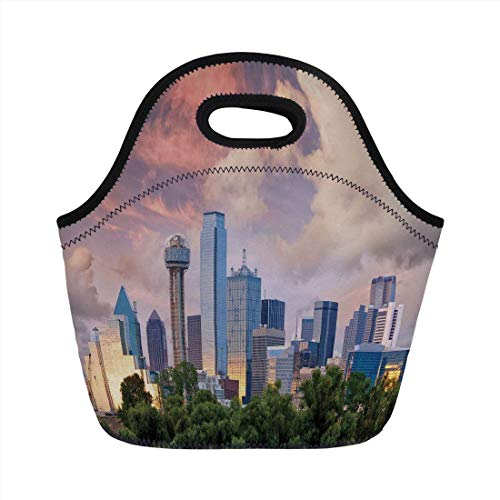 Portable Bento Lunch Bag,United States,Dallas City Skyline at Sunset Clouds Texas Highrise Skyscrapers Landmark Decorative,Multicolor,for Kids Adult Thermal Insulated Tote Bags