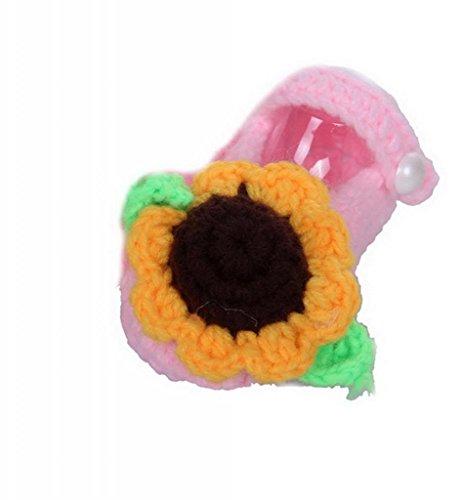 Smile YKK Gestrickte Baby Schuhe Krabbelschuhe flauschige Länge 11 cm Sonnenblume Pink Sonnenblume Pink X