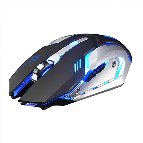 Vovo Gaming Mouse❤️❤️Vovotrade wiederaufladbare X7 Wireless Silent LED Hintergrundbeleuchtung USB Optical Ergonomic Gaming Mouse (Schwarz) (Design Rj11-kompaktes)