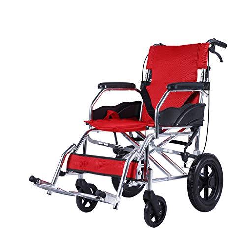 Limin Shop Zusammenklappbarer Rollstuhl, große Aufbewahrungstasche, tragbarer Transportkissenstuhl, zusammenklappbares Pedal und Bremsgriff, 17-Zoll-Sitz - Stahl 17-zoll-rad