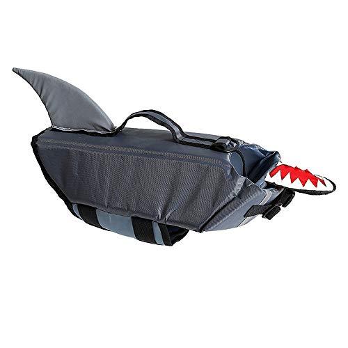 Noseeyou Schwimmweste für Hunde Shark Transform Anzug Wasserdichter Nylon-Hundesicherheitsweste Hundebadeanzug Outdoor-Training Badeanzug Grau L,L -