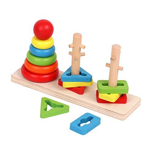 KanCai Geometric Stacker Wooden Toys Blocks Figures Geometrics Puzzles Children Montessori Toys Board to Stack and Sort for Children 18 Months +