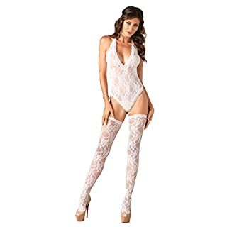 Leg Avenue Lingerie Collection Universal White Lace Deep-V Teddy and Stockings