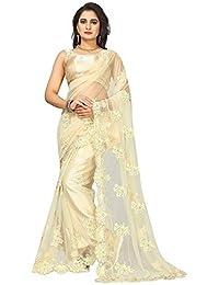 Vinayak Textiles Women's Net Saree (Beige, Free Size)