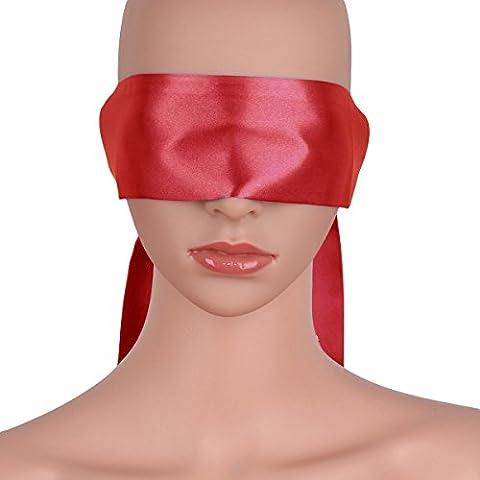 freebily Unisexe Menottes Bandeau SM Abandon Masque des Yeux Fétiche Satin Doux Blindage oeil Cosplay Jeux Bondage Sexuel Jouets Bandés Accessoires Rouge Taille unique