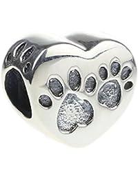Hunter auténtico de joyería 925 cuentas de plata de ley huellas de on My con colgante de corazón para pulsera Europea