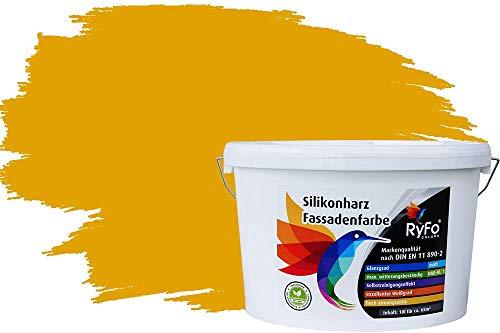 RyFo Colors Silikonharz Fassadenfarbe Lotuseffekt Trend Ginstergelb 10l - bunte Fassadenfarbe, weitere Gelb Farbtöne und Größen erhältlich, Deckkraft Klasse 1