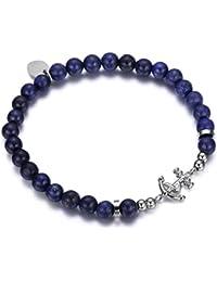 Italienisches Herren Armband aus Agat Natur Steinen in blau. Marine Thema, mit Anker Anhänger. Luca Barra DBA911