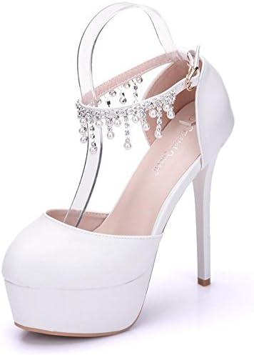 NVXIE Boda Nupcial Zapatos Mujer Perla Tobillo Correa Blanco Vestir Alto Tacón Plataforma Noche Primavera Señoras...
