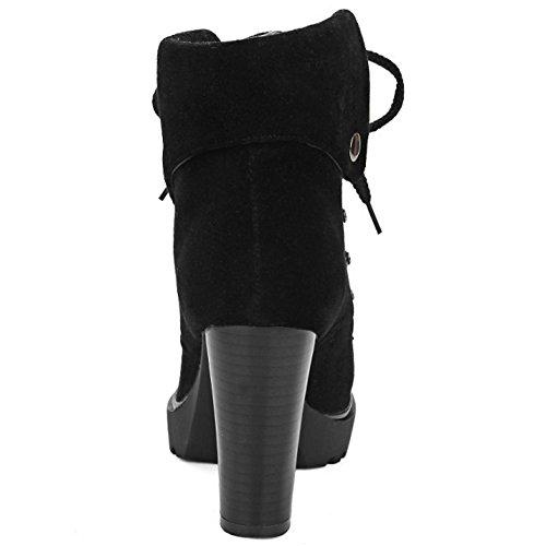 COOLCEPT Damen Trend Einfache Blockabsatz Knöchel Stiefel Schnürung Mode Martin Stiefel mit Nieten Schwarz