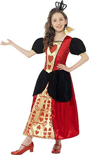 Smiffys Kinder Herzkönigin Kostüm, Kleid und Krone, Größe: L, 44458