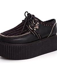 NJX/ 2016 Zapatos de mujer - Tacón Plano - Mary Jane - Oxfords - Exterior / Casual - Semicuero - Negro / Rojo , red-us5.5 / eu36 / uk3.5 / cn35 , red-us5.5 / eu36 / uk3.5 / cn35