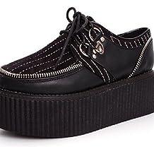 ZQ 2016 Zapatos de mujer - Tacón Plano - Comfort / Puntiagudos - Oxfords - Exterior / Casual - Semicuero - Negro / Blanco / Bermellón , burgundy-us8 / eu39 / uk6 / cn39 , burgundy-us8 / eu39 / uk6 / c