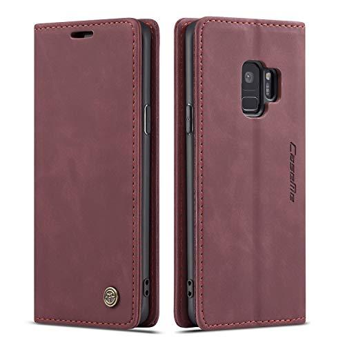 Schutzhülle für Samsung S Serie, Leder, magnetisch, Vintage-Design, Samsung Galaxy S9 Plus, Wein