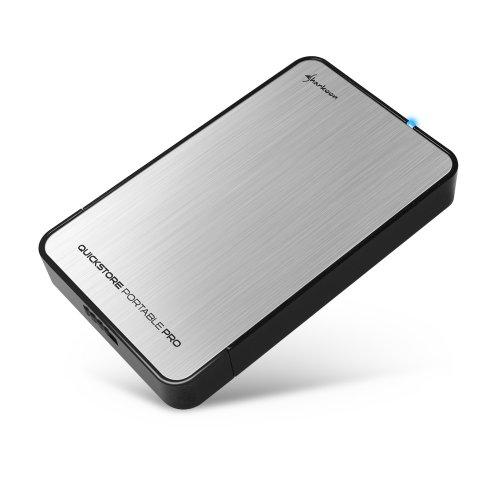Sharkoon Quickstore Portable Pro USB 3.0 Gehäuse für 2,5 Zoll (6,4 cm) SATA Festplatte inkl. Backup Funktion silber 3,5-mm-pc