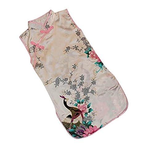 Etosell Robe Chinoise Cheongsam Qipao Floral 5 Couleurs en Soie